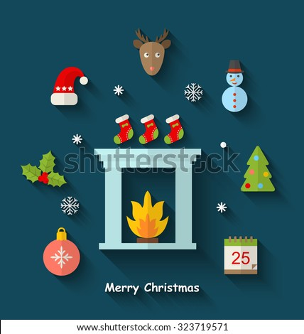 Illustration Christmas Minimal Objects and Elements with Long Shadows - Vector - stock vector