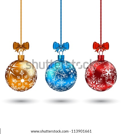 Illustration Christmas multicolor balls with bows isolated on white background - vector - stock vector