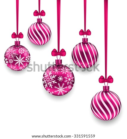 Illustration Christmas Pink Glassy Balls with Bow Ribbon, Isolated on White Background - Vector - stock vector