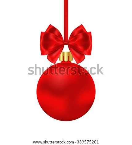 Illustration Christmas Red Ball with Satin Bow Ribbon Isolated on White Background - Vector - stock vector