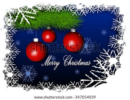 Illustration Christmas red balls on blue background - stock vector