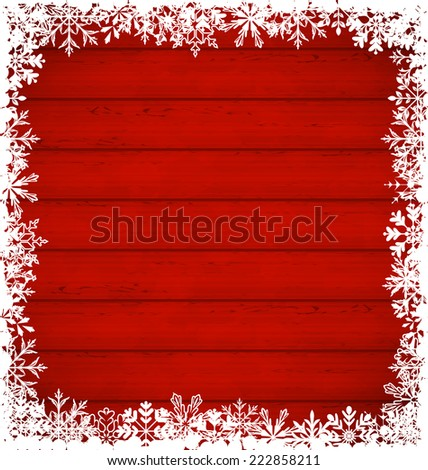Illustration Christmas snowflakes border on wooden background - vector - stock vector