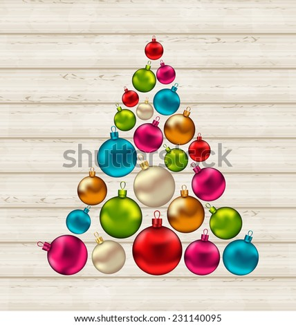 Illustration Christmas tree made of colorful balls on wooden background - vector - stock vector