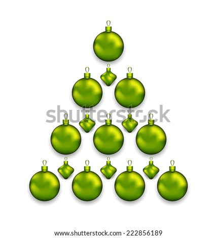 Illustration Christmas tree made of glass balls, isolated on white background - vector - stock vector