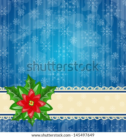 Illustration Christmas wallpaper with flower poinsettia - vector