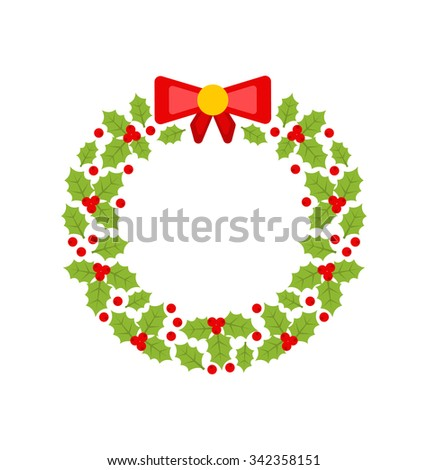 Illustration Christmas Wreath Made of Holly Berries Isolated on White Background, Minimalism Style - Vector - stock vector