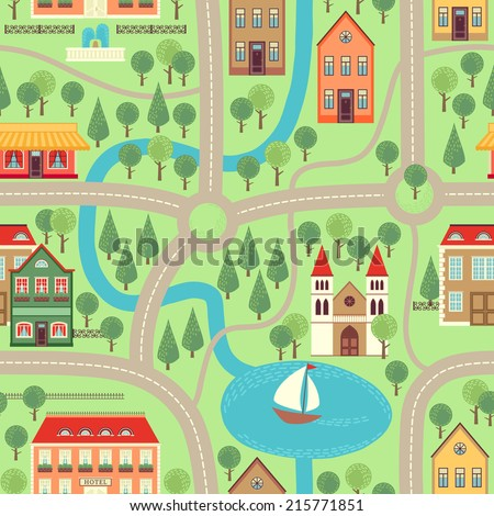 Lovely City Car Track Play Mat Stock Vector 542743558