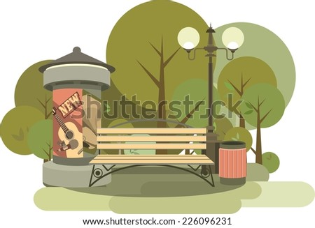 Illustration city park secluded place in the park bench and pedestal with poster - stock vector