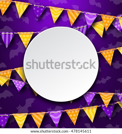 Illustration Clean Card with Colorful Bunting, Bright Background - Vector