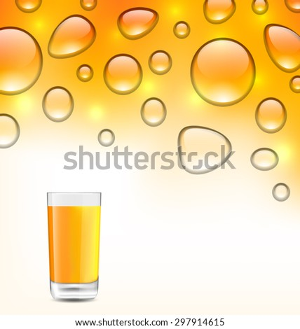 Illustration Clean Water Droplets with Orange Juice with Glass, Orange Background - Vector - stock vector