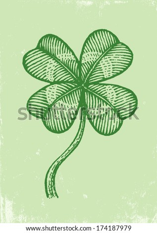 Illustration clover on a green paper - stock vector