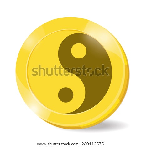 illustration. coin yin,yang on white background. - stock vector