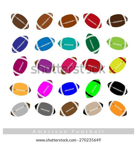 Illustration Collection of 25 Assorted Color American Footballs Isolated on White Background.