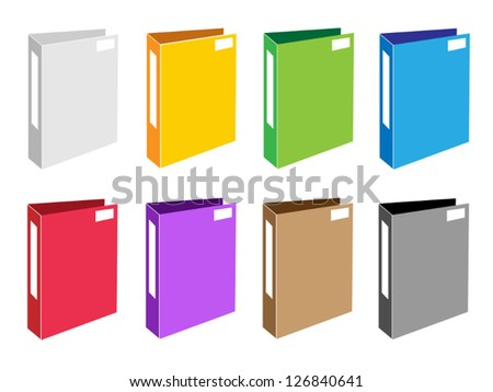 Illustration Collection of Colorful File Folder Icons or Office Folder Icons for Backups and Storing of Data - stock vector