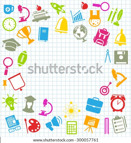 Illustration Collection of Education Flat Colorful Simple Icons on School Grid Paper Sheet - Vector - stock vector