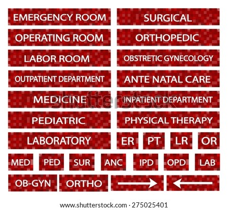 Illustration collection hospital signs medical abbreviations stock illustration collection of hospital signs and medical abbreviations of different departments at a hospital in red sciox Images