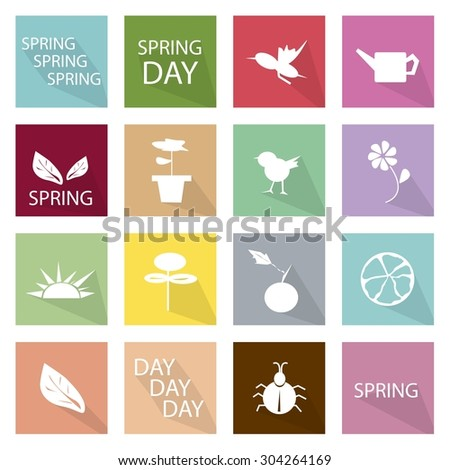 Illustration Collection of Spring Season Icons, The Season Between Winter and Summer. - stock vector