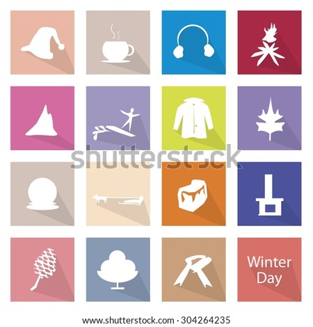 Illustration Collection of Winter Icon Labels, The Coldest Season of The Year. - stock vector