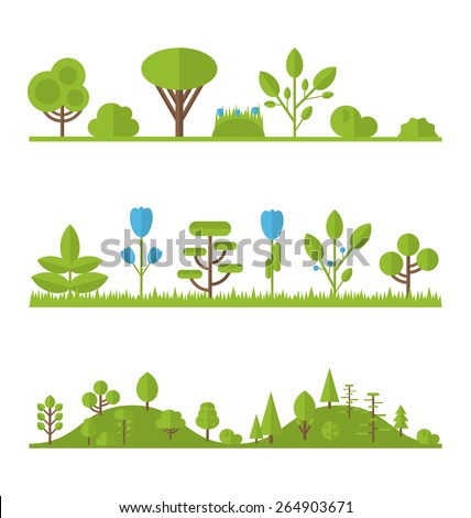 Illustration collection set flat icons tree, pine, oak, spruce, fir, garden bush isolated on white - vector  - stock vector