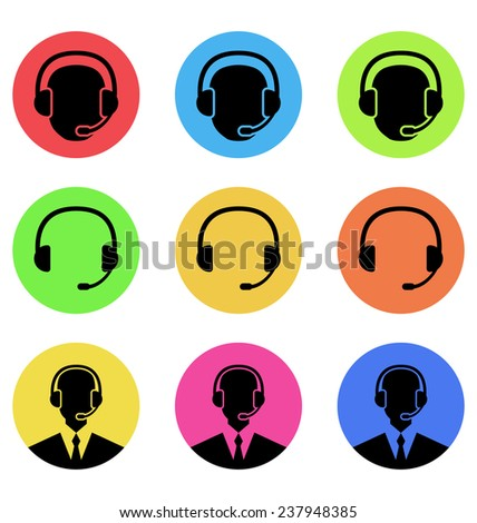 Illustration colorful icons of call center and operator in headset, headset - vector - stock vector