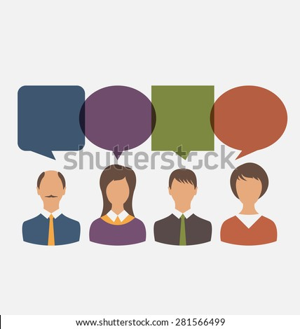 Illustration Colorful Simple Icons of Business People with Dialog Speech Bubbles. Vector - stock vector