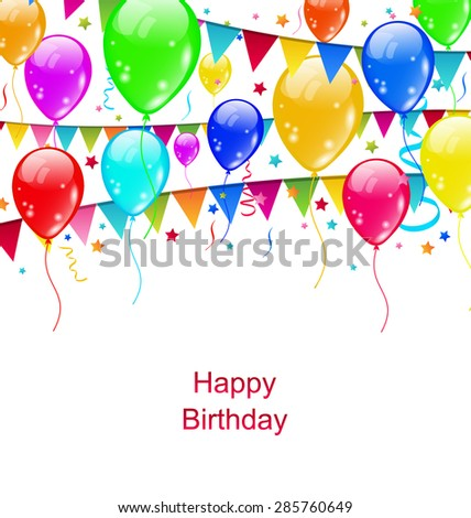 Illustration Colourful Party Balloons, Confetti for Happy Birthday - vector