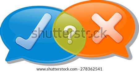 Illustration concept clipart speech bubble dialog conversation negotiation argument yes no agree disagree vector - stock vector