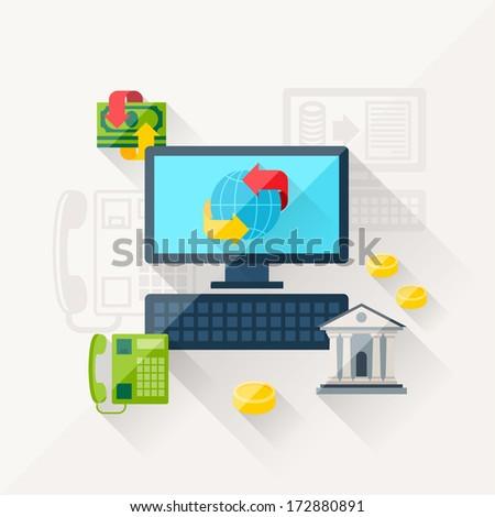 Illustration concept of banking online in flat design style. - stock vector