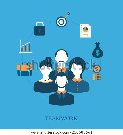 Illustration concept of teamwork of business people leading, flat icons of business and finance item - vector - stock vector