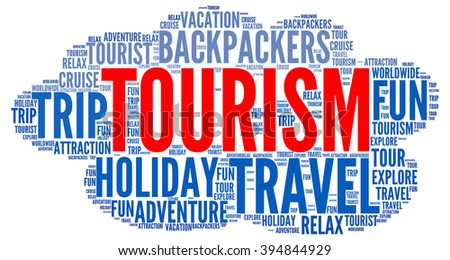 Illustration concept or conceptual of travel or tourism text word cloud tagcloud isolated on white background. - stock vector