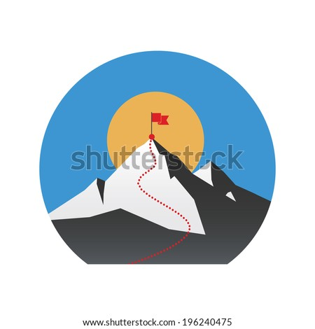 Illustration concept with flag on the mountain peak, meaning overcoming difficulties, winning strategy with focus on results. - stock vector
