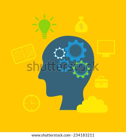 Illustration concepts of intelligence, intellectual work, productivity, creativity, efficiency - vector