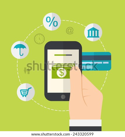 Illustration concepts of online payment methods. Icons for online payment gateway, electronic funds, flat style design - vector - stock vector