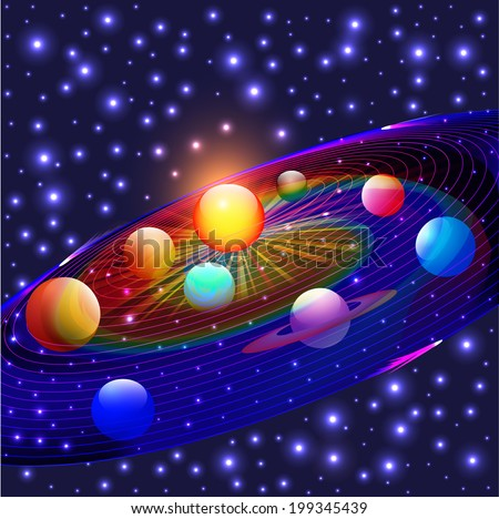 illustration cosmos planets in the solar system - stock vector