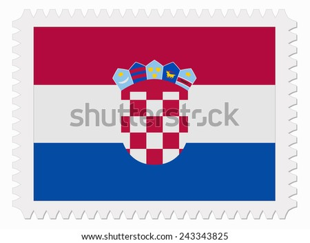 illustration Croatia flag stamp - stock vector
