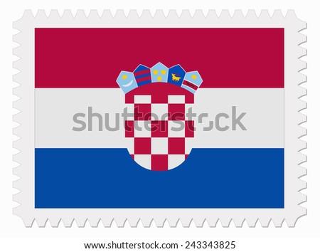 illustration Croatia flag stamp - stock vector