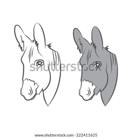 Illustration cute draw donkey. Vector - stock vector