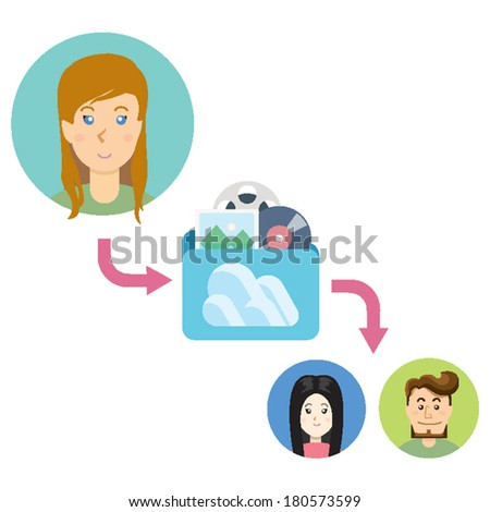 Illustration Data Sharing for Digital Productivity concept of co worker friends sharing multimedia data for their digital productivity with folder in cloud server. Isolated on white background - stock vector
