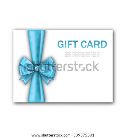 Illustration Decorated Gift Card with Blue Ribbon and Bow, Gift Voucher Template, Certificate Design - Vector - stock vector