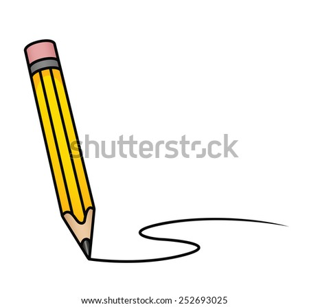 Illustration depicting a cartoon pencil drawing a curved line. Eps 8 Vector. - stock vector