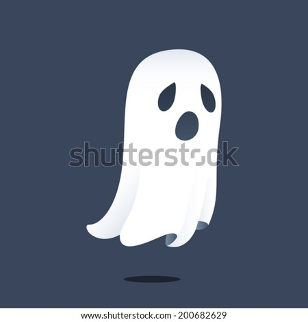 Illustration depicting a sad ghost floating above the ground. Eps 8 Vector.