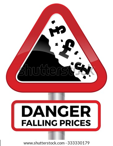 Illustration depicting falling prices represented by tumbling UK Pound signs crashing down a cliff on a red road sign. - stock vector
