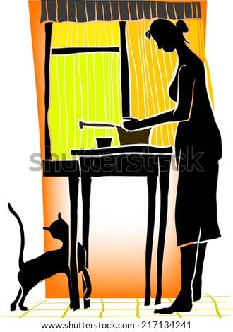 Illustration depicting scene in the kitchen - stock vector