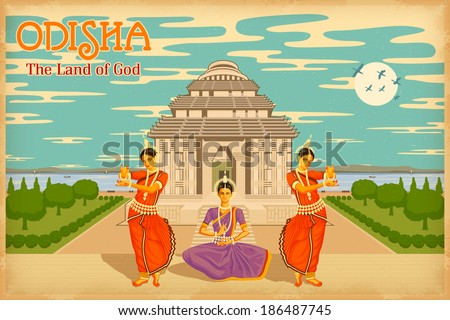 illustration depicting the culture of Odisha, India - stock vector