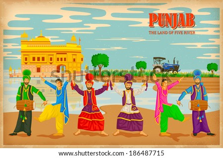 illustration depicting the culture of Punjab , India - stock vector