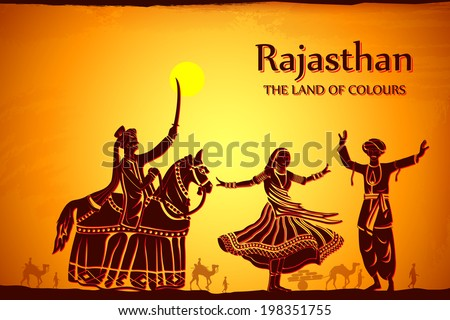 illustration depicting the culture of Rajasthan, India - stock vector