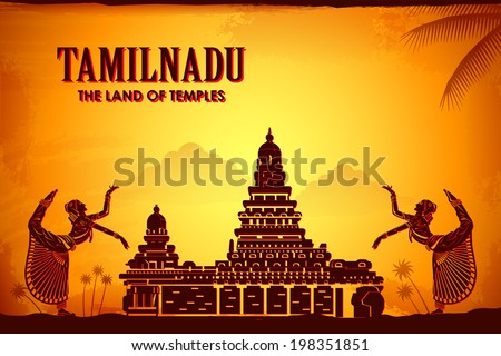 illustration depicting the culture of Tamilnadu, India - stock vector