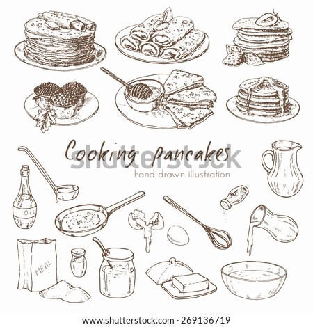 Illustration depicting the process of cooking pancakes and various types of pancakes. infographic about the recipe for pancakes. Vector hand drawn set.