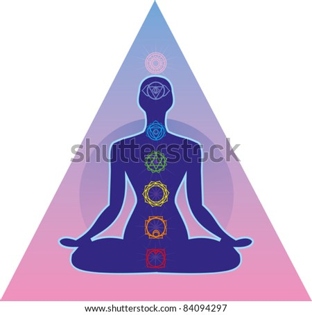 illustration depicting the silhouette of a person seated in the lotus position with seven chakras - stock vector