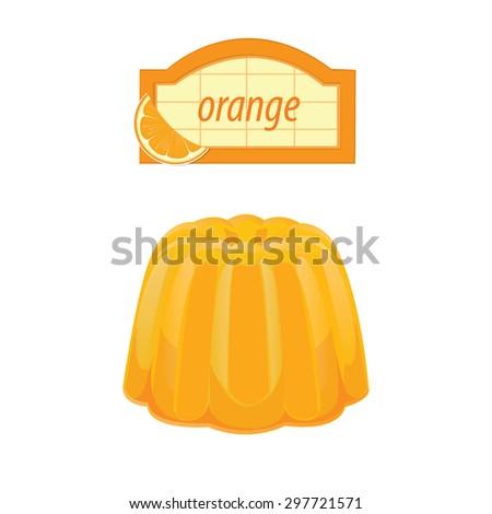 illustration. dessert fruit jelly 3 - stock vector